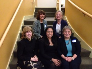 Taking part in the celebration of the 125th anniversary of AAUW fellowship and grant funding were: Front row: Alice Rietz, state co-president and branch member; Sofia Espinoza Sanchez, Yale graduate student and International Fellowship recipient; and Barbara Dunham, branch co-president. Second row: Elaine Quayle, EOF chair, and Marie Morch, past co-president.